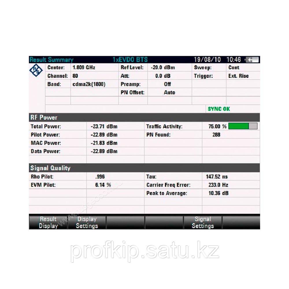 Опция сканирования сигналов базовых станций 1xEV-DO и анализ мощности 1xEV-DO сигналов во временной  ...