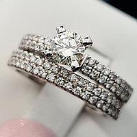 Сертификат IGI 1.02Сt SI1/L EX-Cut Двойное золотое кольцо с бриллиантами, фото 1