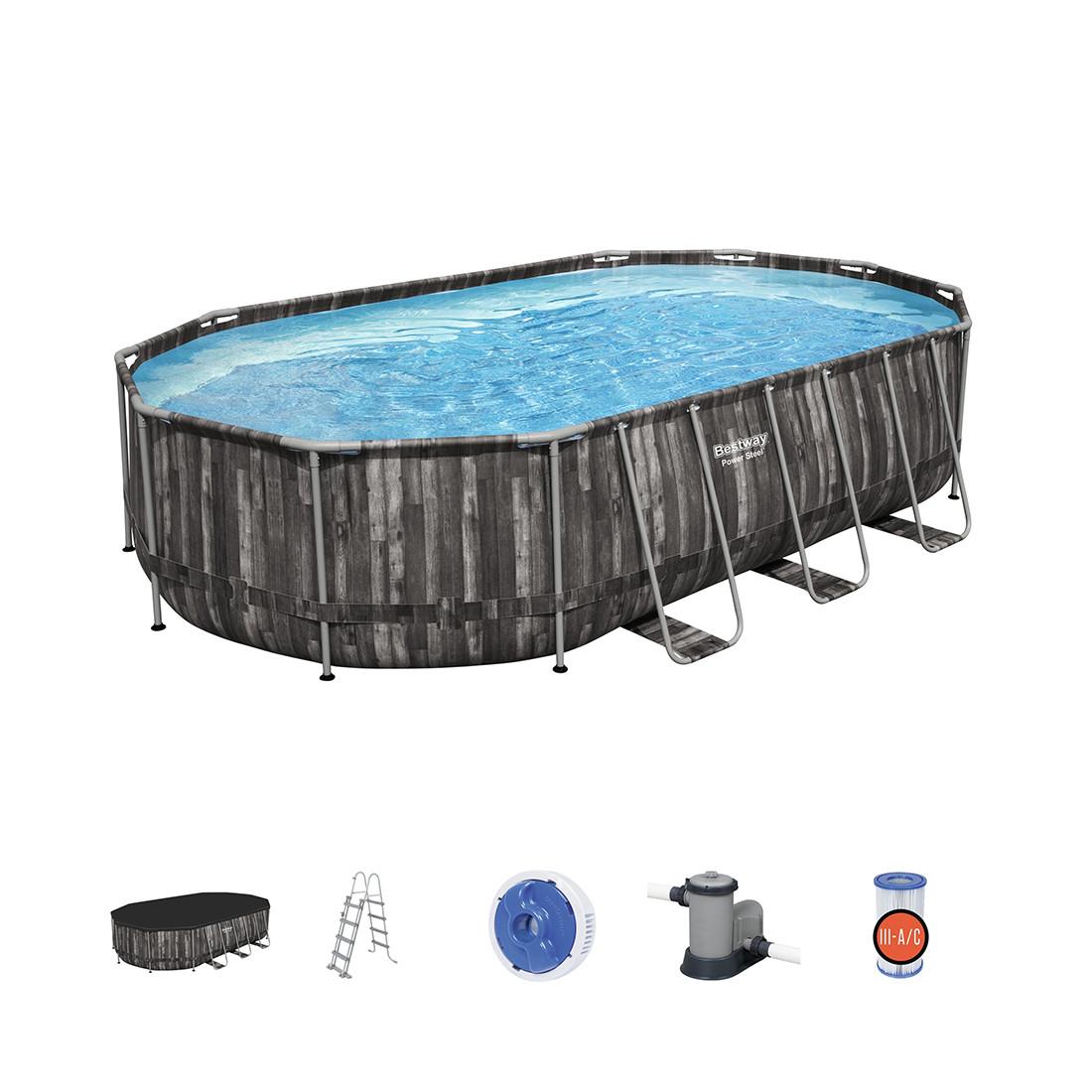 Каркасный бассейн Power Steel Oval 610 х 366 х 122 см, BESTWAY, 5611R