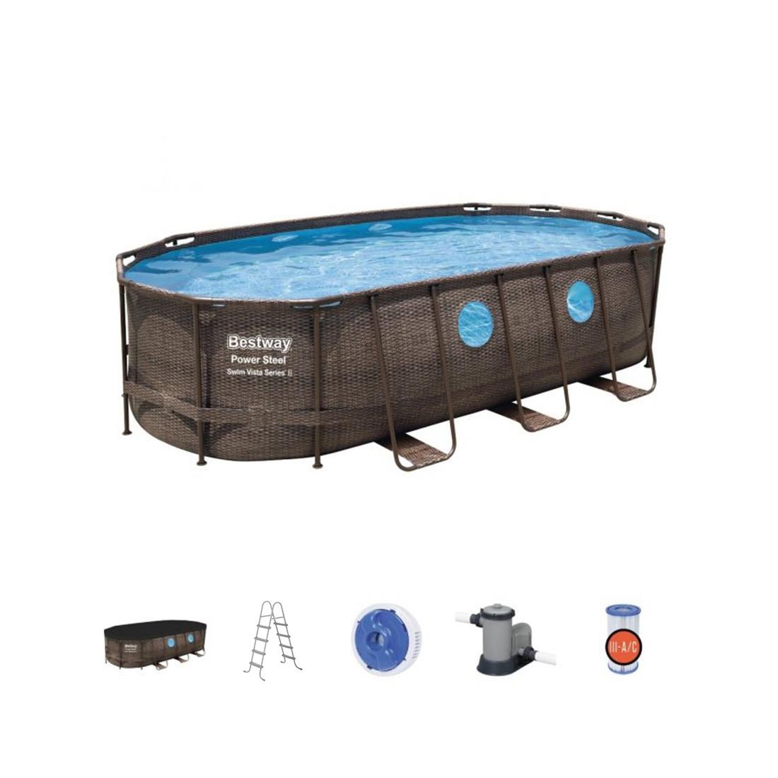 Каркасный бассейн Power Steel Swim Vista II 549 х 274 x 122 см, BESTWAY, 56716