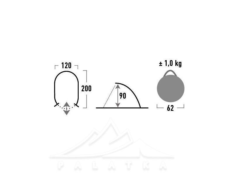 Тент пляжный HIGH PEAK Мод. CALOBRA 80 (200x120x90cм)(1,00кГ) R89482 - фото 3