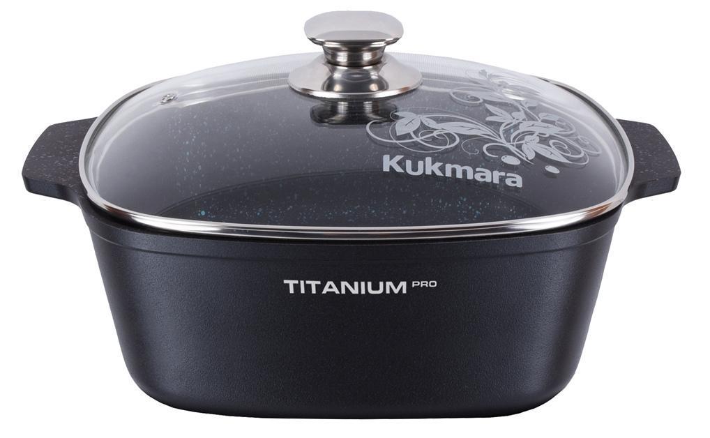 """Кастрюля """"Titanium Pro"""" 6,5 л. со стеклянной крышкой 28*28см"""
