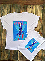 "Женская футболка ""Blue print"", Казахстан"