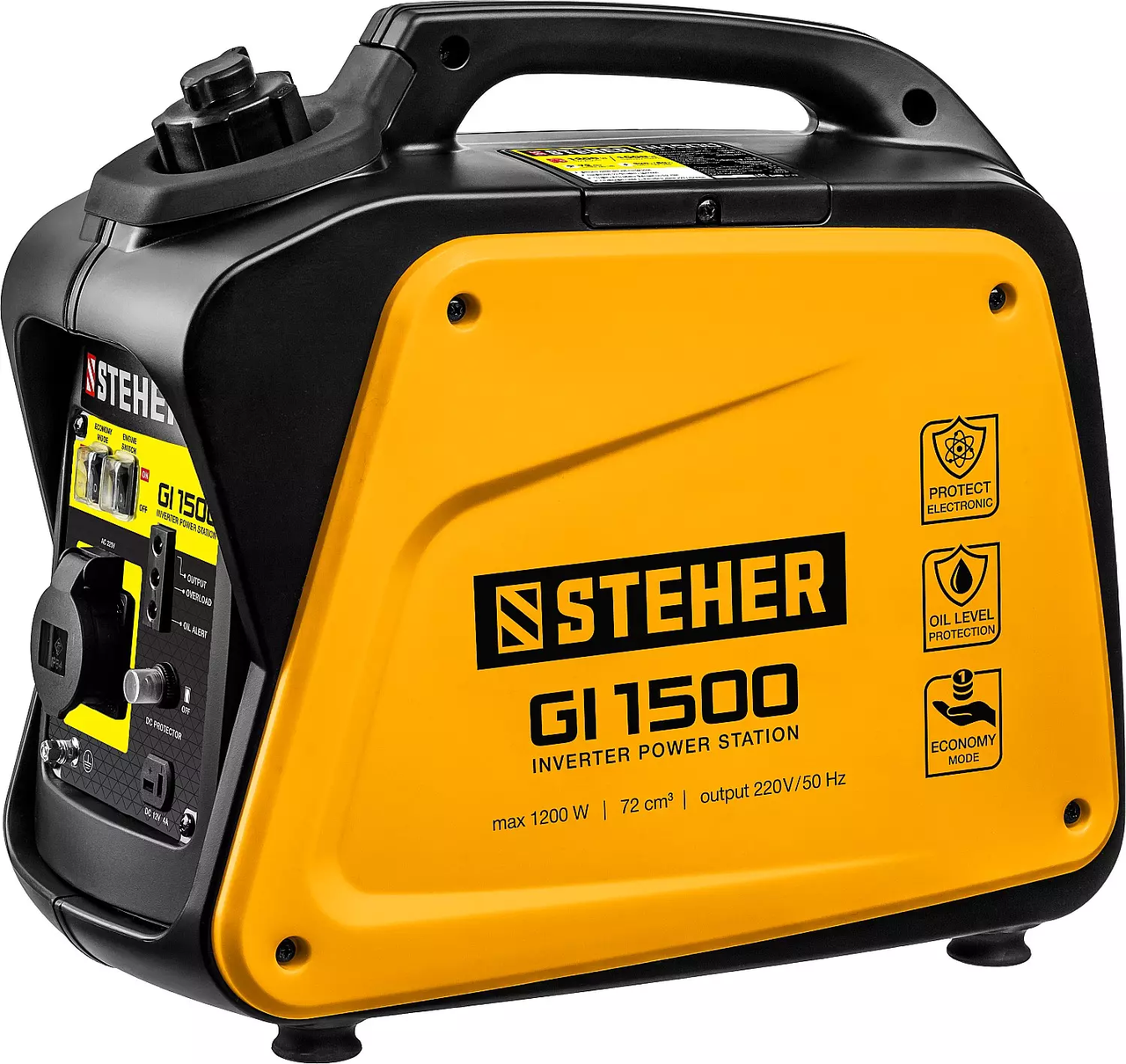 Генератор бензиновый STEHER 1/1,2 кВт, однофазный, синхронный, инверторный (GI-1500)
