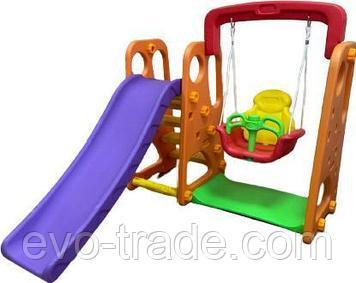 Детский игровой комплекс с качелями оранжевый