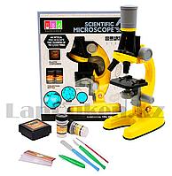 Детский Микроскоп с 3 объективами 1200х 400х 100х с приборами Желтый Scientific Microscope 1012A