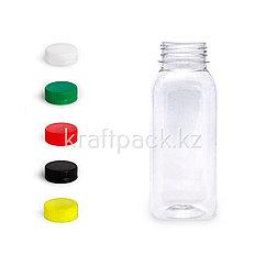 Бутылка 250-280мл, с широким горлом 38мм «Квадрат» (100шт/уп) ( Цвет крышки на выбор)