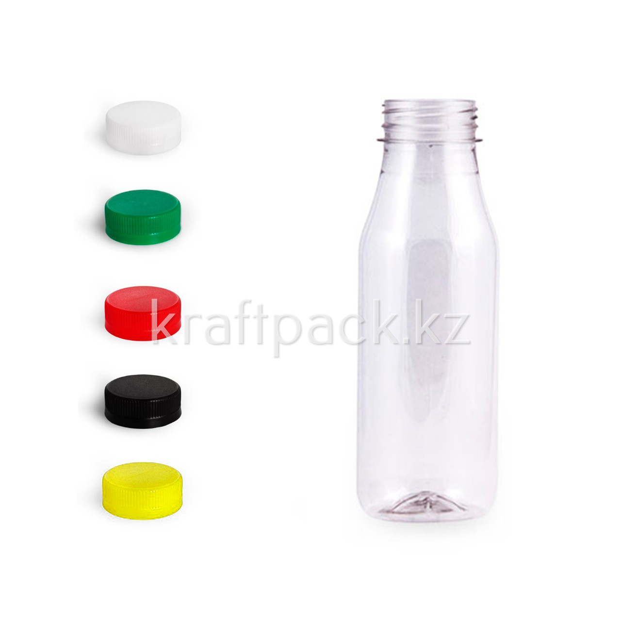 Бутылка 300мл, с широким горлом 38мм «Круглая Стандарт» (100шт/уп) ( Цвет крышки на выбор)