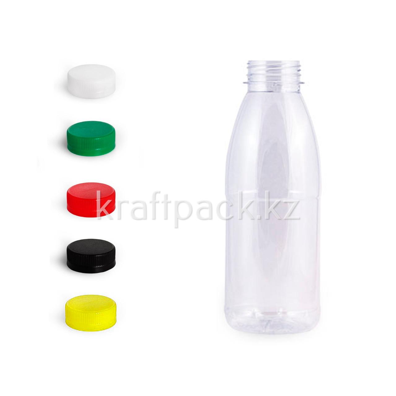 Бутылка 500мл, с широким горлом 38мм (100 шт/уп) (Цвет крышки на выбор)