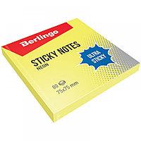 """Клейкие листки BERLINGO """"Ultra Sticky"""" 75х75 мм, желтый неон, 80 листов"""