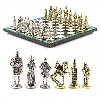 """Подарочные шахматы """"Богатыри"""" с металлическими фигурами камень малахит 40х40 см"""