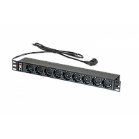 "Блок электрических розеток TLK, 19"", 9 гнезд ""евророзетка"", макс. нагрузка 16 А, шнур питания 1,8 метра,"