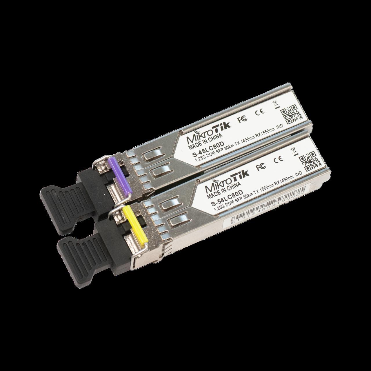 Пара модулей Mikrotik SFP оптический, 1.25G, дальность до 80км, 1490/1550нм