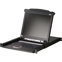 """Консоль управления, для KVM-переключателей, электрон., 19"""", SVGA+KBD+MOUSE PS/2, с KVM-шнуром PS/2 1.8м., LCD"""