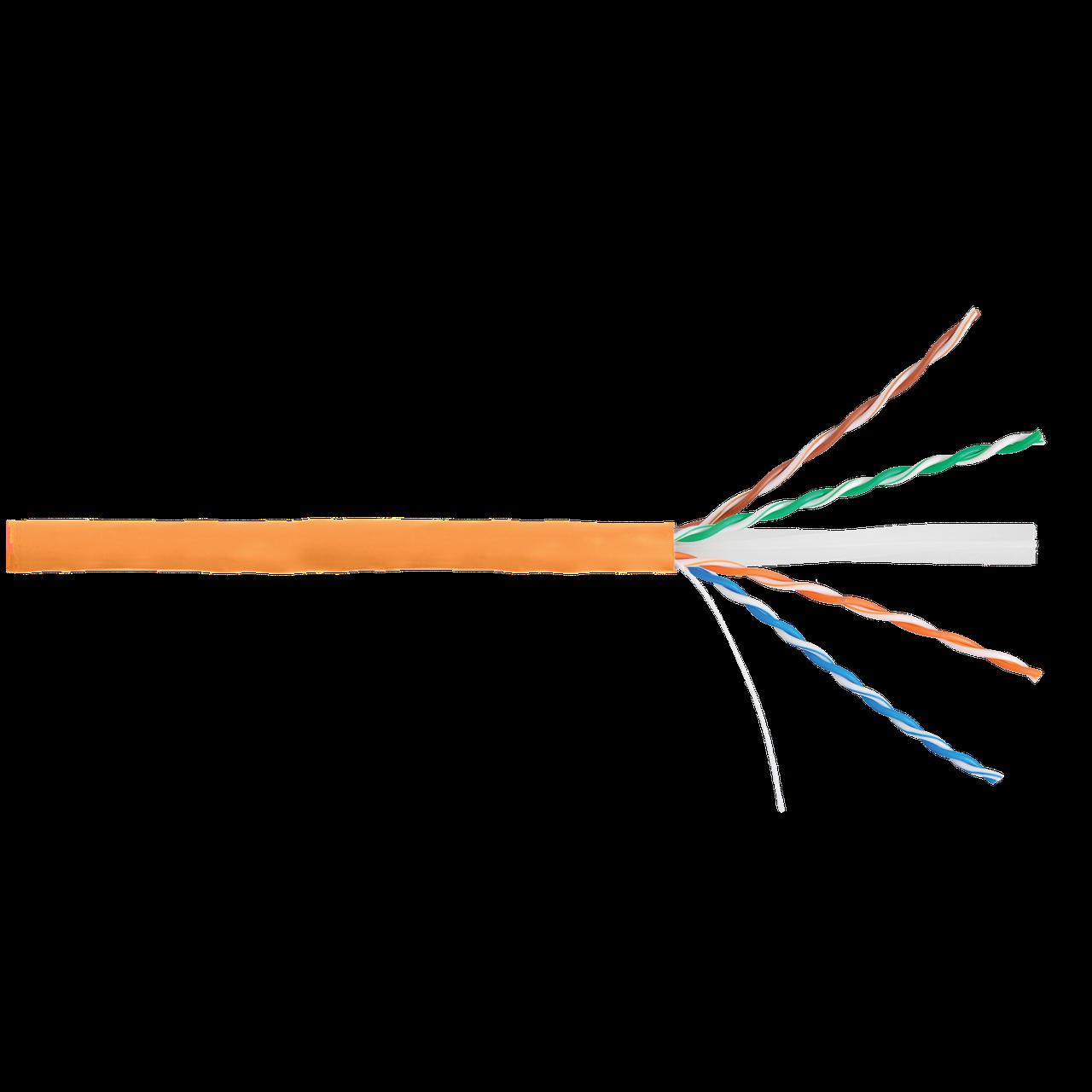 Кабель NIKOLAN U/UTP 4 пары, Кат.6 (Класс E), тест по ISO/IEC, 250МГц, одножильный, BC (чистая медь), 24AWG