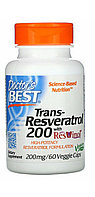 Doctor's Best, Лучший транс-ресвератрол 200 мг, 60 капсул.