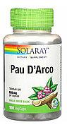 Кора муравьиного дерева  (Pau d'Arco ) 550 мг. 100 капсул. Solaray.