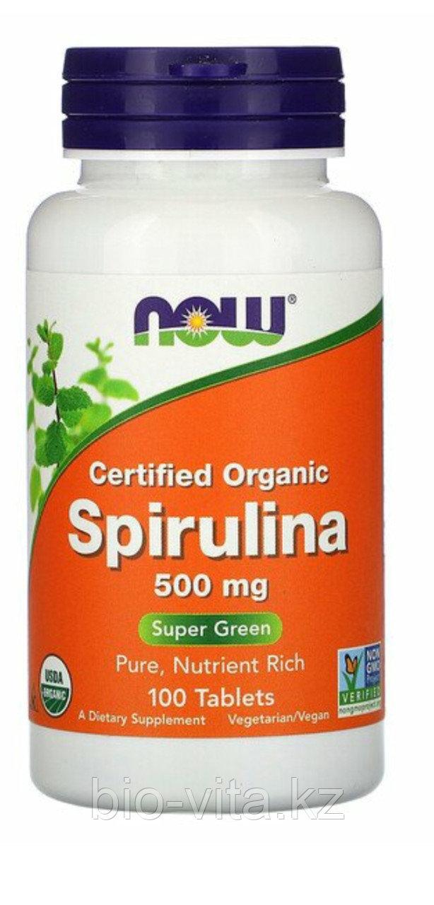 Спирулина. Spirulina Органическая спирулина, 500 мг, 100 таблеток. Без ГМО.