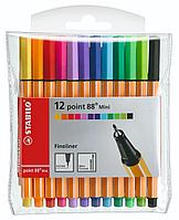 Набор капиллярных ручек линеров STABILO point 88 mini 0.4 мм, 12 цветов