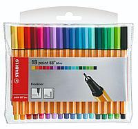 Набор капиллярных ручек линеров STABILO point 88 mini 0.4 мм, 18 цветов