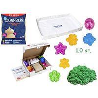 Песок космический. Песочница+формочки, зеленый 1 кг (коробка)