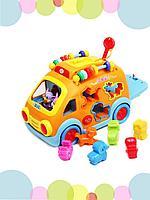Hola: Игрушка-сортер Веселый автобус/машинка/для малышей/свет и звук/ форма и цвет /фигурки животных