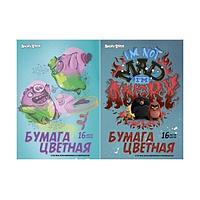 Бумага цветная для детского творчества 16 цв., 16 л., Angry Birds Movie