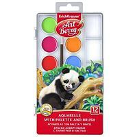 Краски акварельные ArtBerry 12 цветов с УФ защитой яркости, с палитрой и кистью