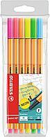 Набор капиллярных ручек линеров STABILO point 88 Neon 0.4 мм, 6 неоновых цветов
