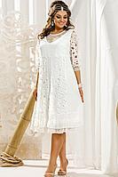 Женское летнее белое нарядное большого размера платье Vittoria Queen 14013 белый 46р.