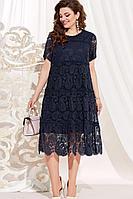 Женское летнее синее нарядное большого размера платье Vittoria Queen 13963/1 темно-синий 50р.