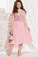 Женское летнее розовое нарядное большого размера платье Vittoria Queen 11133/3 розовый 48р.