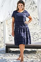 Женское летнее хлопковое синее нарядное большого размера платье Vittoria Queen 12683 темно-синий 50р.