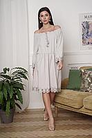 Женское летнее льняное серое платье LadisLine 1348 серый 44р.