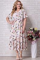 Женское летнее шифоновое большого размера платье Aira Style 823 цветы 56р.