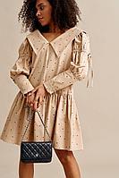 Женское осеннее хлопковое бежевое платье Beauty Style 3786 42р.