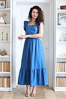 Женское летнее хлопковое синее платье Juliet Style Д203-1 44р.