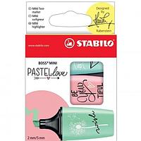 Набор текстовыделителей STABILO Boss Mini Pastellove, 3 цвета (мятный, розовый, бирюзовый)