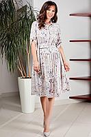 Женское летнее большого размера платье Teffi Style L-1487 жемчужный 44р.