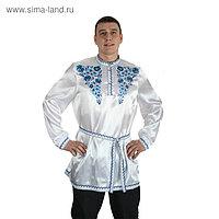 "Рубаха русская мужская ""Синие цветы"", атлас, р-р 56-58, цвет белый"