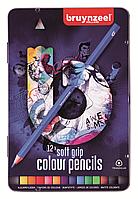 Набор карандашей BRUYNZEEL цветные, мягкие 12 шт. Голубой.