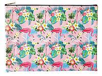 """Папка, Infolio Study, 325х230 мм, для тетрадей, искусственная кожа, на молнии. Коллекция """"Flamingo"""", розовый"""
