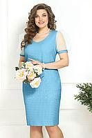 Женское летнее голубое нарядное большого размера платье Solomeya Lux 818 голубой 56р.