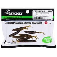 Приманка съедобная Allvega Power Swim 5 см, 1 г, green pumpkin red flake 8 шт.