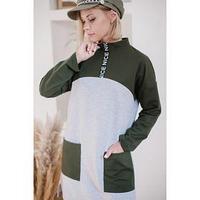 Платье женское, цвет серый/хаки, размер 48