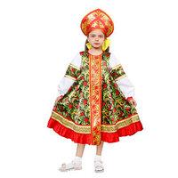 Русский народный костюм для девочки 'Рябинка', платье, кокошник, р. 30, рост 110-116 см