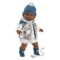 LLORENS: Кукла Зареб 42 см, афро в серебристом жилете