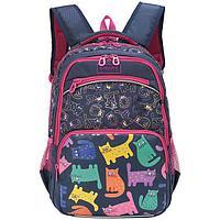 Рюкзак школьный для девочки Котики синий