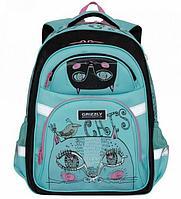 Рюкзак школьный для девочки, Коты, мята