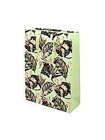 """Пакет бумажный """"Цветы орхидеи"""".  31*42*12 см."""